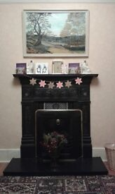 Gas fire and repoduction Victorian cast iron surround