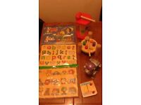 Woodden puzzles and other woodden toys