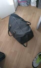 duffle luggage holdall vintage leather grey