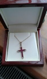 9ct Gold cross with rubies and diamonds