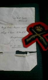 Antique cornish military patch with letter of complements