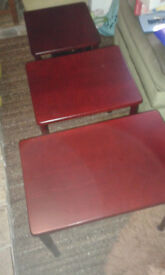 Nest of tables. Dark wood. Excellent condition