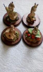 SET OF 4 BORDER ARTS MICE ON FRUIT - SIGNED AYRES.