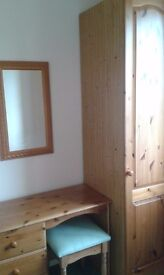 Single Pine wardrobe with matching 3 drawer dresser, together with mirror and stool