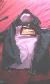black and pink superdry coat