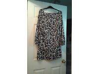 Black and White Long Sleeved Short Dress