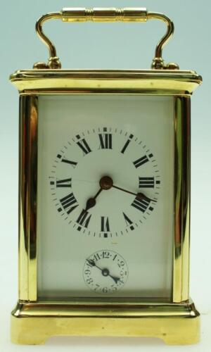 Superb Antique French Polished Brass & 5 Glass 8 Day Carriage Clock With Alarm