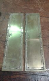 2 Brass Original Vintage Door Finger Plates