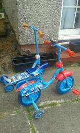 Pair of Thomas first bike and scooter