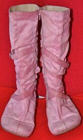 Pink Suede Zipped Boots, size 6