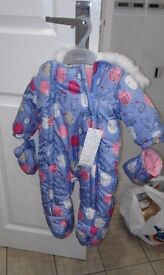 Bnwt up to 3 months/14.5 lb snow suit. Never worn
