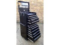 REDUCED!!! Snap-On Black Toolbox Roll Cab & Top Box Set Including 2 sets of keys