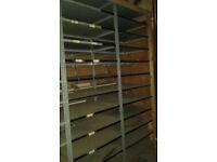 Multiple metal shelving racking bays, garage shelving, warehouse storage