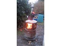 Home made fire bin, stove