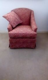 2 Seater sofa and 2 armchairs (small & cute) - red design, excellent condition