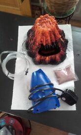 Volcano fish tank ornament & air pump