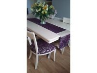 Chalk Painted Dining Table, 4 chairs and matching sideboard