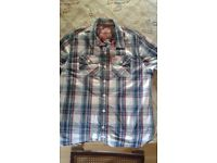 SUPERDRY short sleeved check shirt XXL, never worn