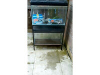 Double fish tank breeding with stand tropical fresh fish