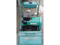 Qalcast 14 inch cylinder mower and box. Plus grass box. 35s type.