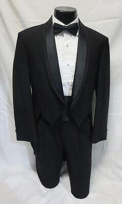 40R Mens Formal Black  Wool Oscar de la Renta Tuxedo Tailcoat Mardi Gras Ball