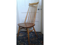 Set of 3 Ercol 'Goldsmith' dining chairs and one 'Cowhorn' carver chair