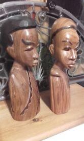 tribal art wooden african heads statues