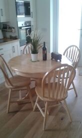 Extending Pine Dining Table & 6 Chairs with Matching Sideboard