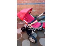 Quinny Buzz Travel System Single Seat Stroller with carry cot, red BARGAIN !!!