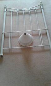 Single Cream Metal Headboard 137cm high, 95cm wide & Cream Lampshade 20cm high, 28cm circ.