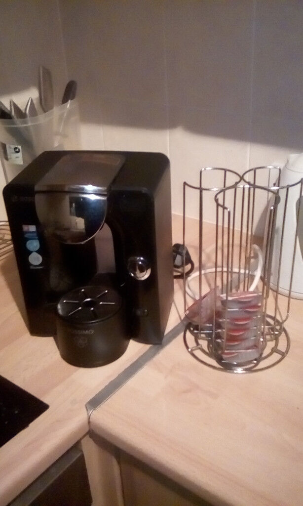 Tassimo coffee machine, pods and pod holder