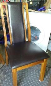 6 X Brown and Leather dining room chairs