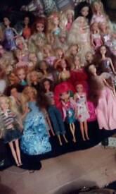 Barbie dolls vintage and modern mix