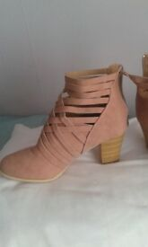 NEW LADIES PINK ANKLE BOOTS