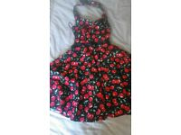womens/girls.cherry print halter neck dress