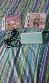 DS lite bundle with 3 games and charger and spotty custom design