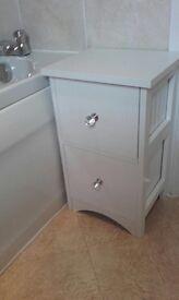 two drawer white wooden bathroom storage chest