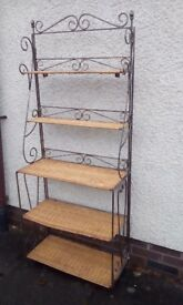 Bookcase with rattan shelves