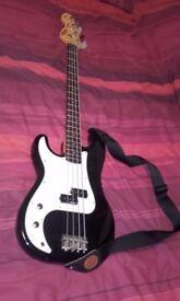 Vintage Black Left Handed Bass Guitar
