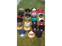 Mixture of 19 Snapbacks (adjustable size), assorted makes/brands - selling as lot