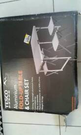 Aluminium fold up table and chairs