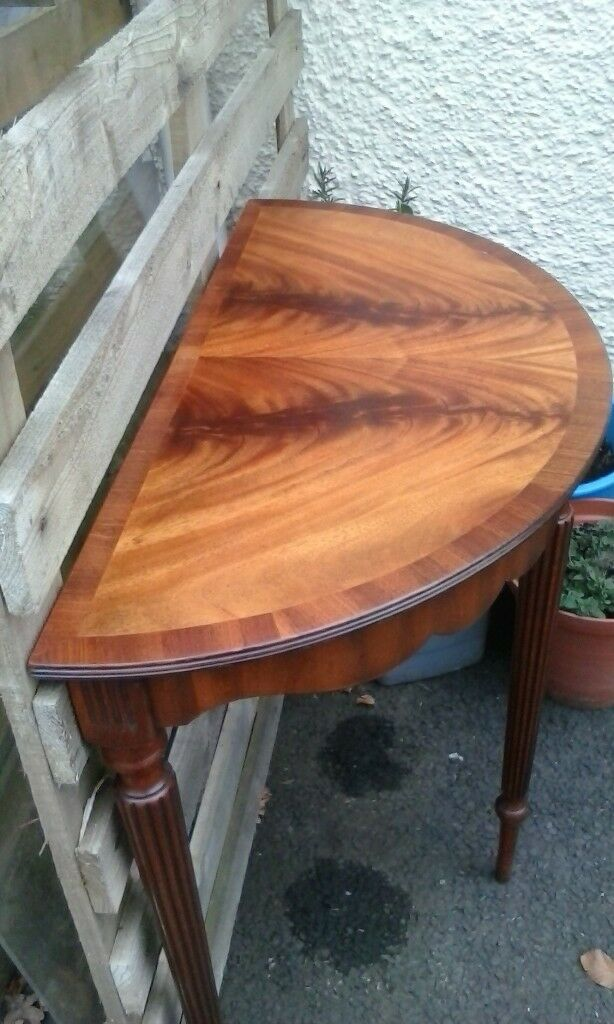 Demi lune table crescent shaped console side table half moon, hallway table Bevan Funnell