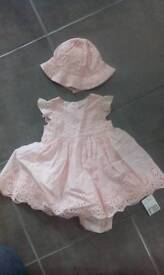 Brand new Mothercare baby girl's dress, matching pants and hat