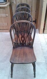 SET OF 4 VINTAGE ERCOL WHEELBACK CHAIRS 1965 SEATS SEATING COUNTRY CHIC