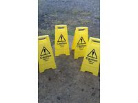 4 x Safety Barriers, Warning Signs