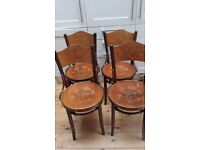 4 Lacquered wood with inlay dining chairs
