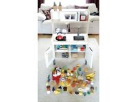 Wooden toy kitchen and accessories
