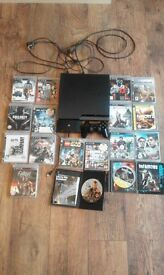 PlayStation 3 320gb with 17 games and live tv box. gat v