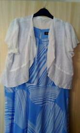 Jacque vert blue and white dress with M&S cardigan size 22