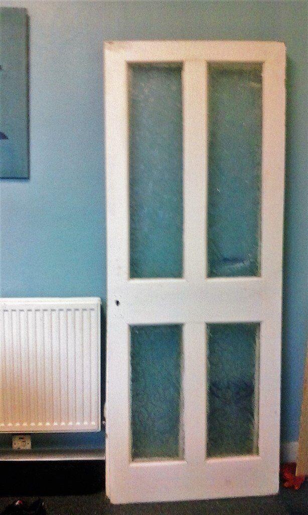 Vintage Pair Of 4 Panel Embossed Glass Internal Doors In Catford